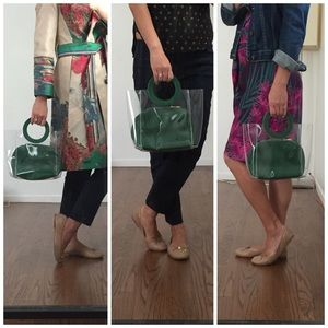 Handbags - Clear Bag with Green Clutch